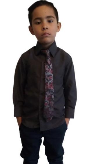 Camisa De Vestir Para Niño Con Corbata