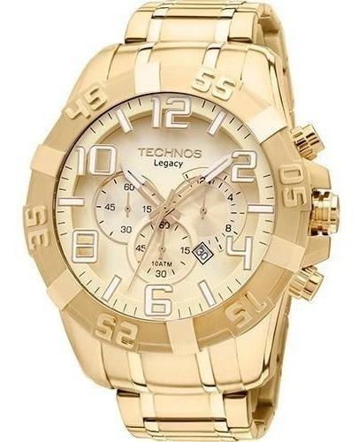 Relógio Masculino Technos Caixa Grande Dourado Legacy