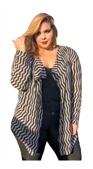 Kimono Inverno Cardigan Feminino Tricot Plus Size 46 A 52