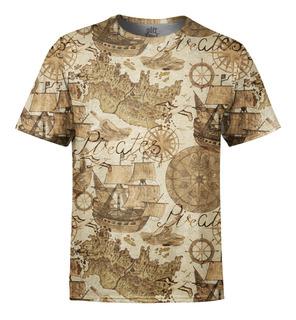 Camiseta Masculina Carta Geográfica Estampa Digital