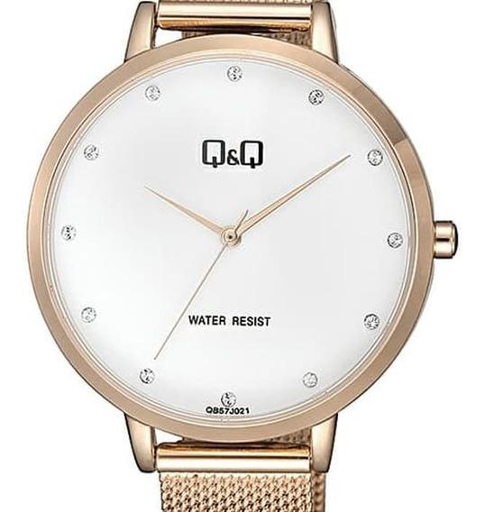 Reloj Q&q By Citizen Acero Rosado Dama Mod. Qb57j021y