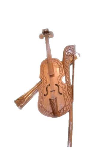 Violino Decorativo De Parede Em Madeira