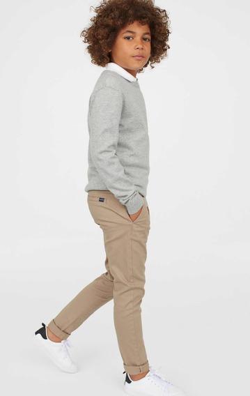 Pantalón Slim Fit Beige De Niño Hym Talla 13/14 Nuevo