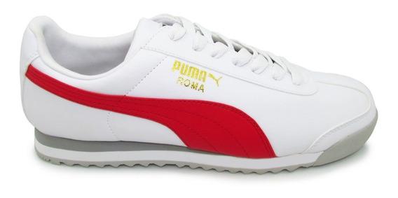 Tenis Puma Roma Basic 353572 38 White High Risk Red Blanco R