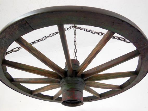 Lustre Luminária Roda Antiga De Carroça Tam. Gde. - D1