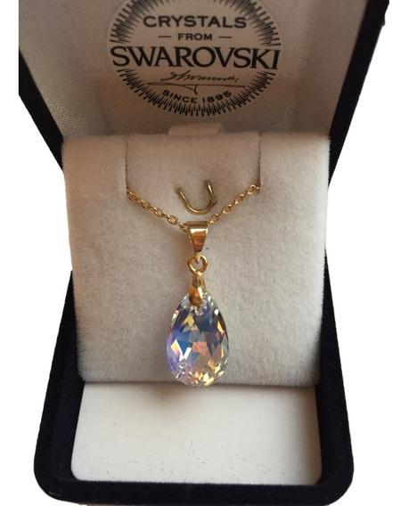 Joyas Collar Cristal Swarovski Pear Oro Goldfilled 14k
