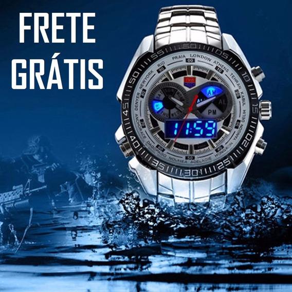 Relógio Masculino Tvg Estilo Militar Robusto Casual Led Azul