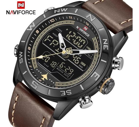 Relógio Naviforce Nf9144 Analógico/digital Douradocom Caixa