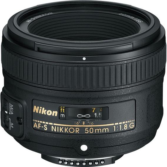 Lente Nikon 50mm F/1.8g Fx Af-s Autofoco Case Parasol Nfe