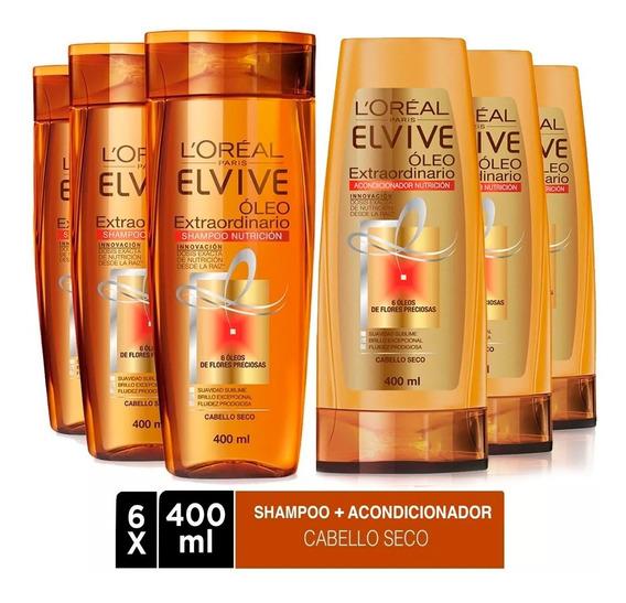 Pack 3 Shampoo + 3 Aco Elvive Oleo Extraordinario L