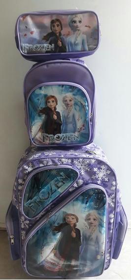 Kit Mochila Escolar Com Rodinhas Frozen 2