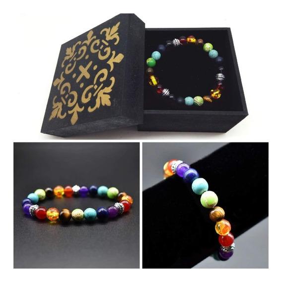 Pulseira 7 Chakras,elastico,pedras,cores,ajustavel,yoga
