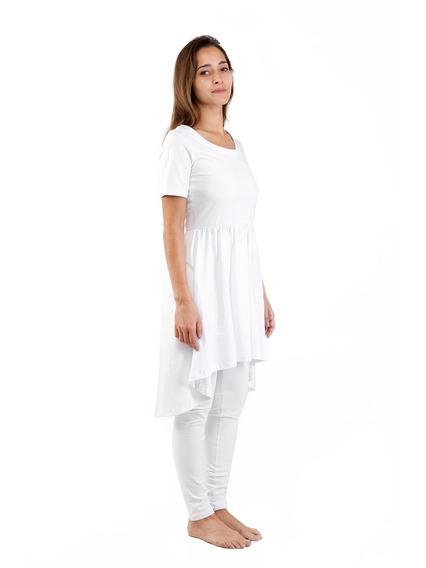 Kundalini Yoga 1 Vestido Manga Corta +1 Calza Algodon Blanco