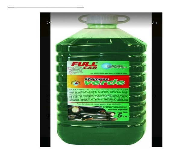 Shampoo Siliconado Ph Neutro Full Car 5l Verde Zona Norte
