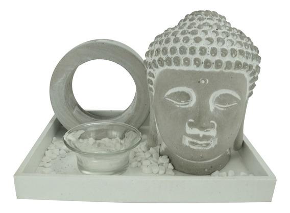 Jg 4pcs Concreto Zen Garden Buddah Cinza/branco Urban