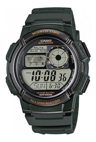 Reloj Casio Ae 1000w Negro-gris 5 Alarmas 100% Original
