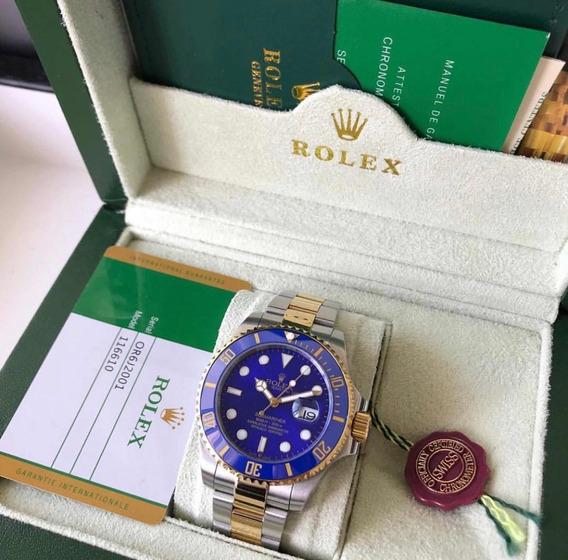 Rolex Submariner Dourado Prata Com Caixa E Documentos