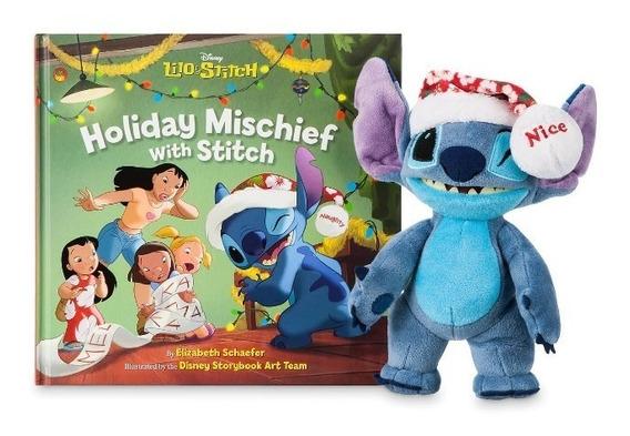 Disney Store Peluche Stitch Navidad + Libro Ilustrado 2018
