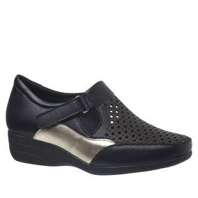 5be6725eec Sapato Feminino Anabela 3142 Em Couro Soft Preto metalizado por Doctor Shoes