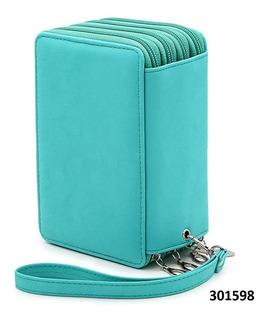 Cartuchera Cuero 72 Compartimiento Ideal Lápices W01