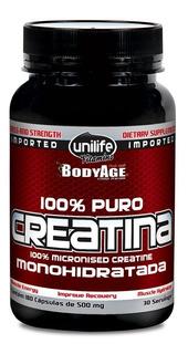 Creatina Monohidratada 100% Pura Unilife Bodyage (180 Cáps)