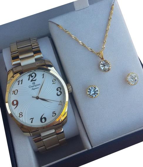 Kit Relógio Champion Feminino Dourado Cn26715w Frete Grátis