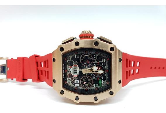 Reloj Richard Mille Rm 1103 Oro Rosa Caucho Rojo Automatico
