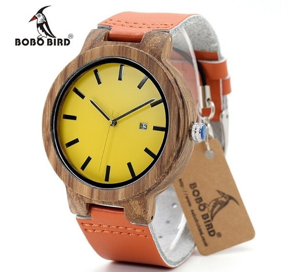 Relógio Unissex Bambu Madeira Analog. Bobo Bird O09