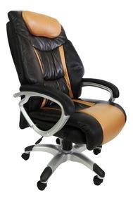 Cadeira Presidente Em Couro P.u. Reclinável Marrom Pel-9012