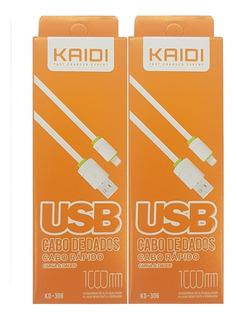 Kit 2 Cabos Carregadores iPhone 6 7 8 Kaidi Kd 306 Com Nfe