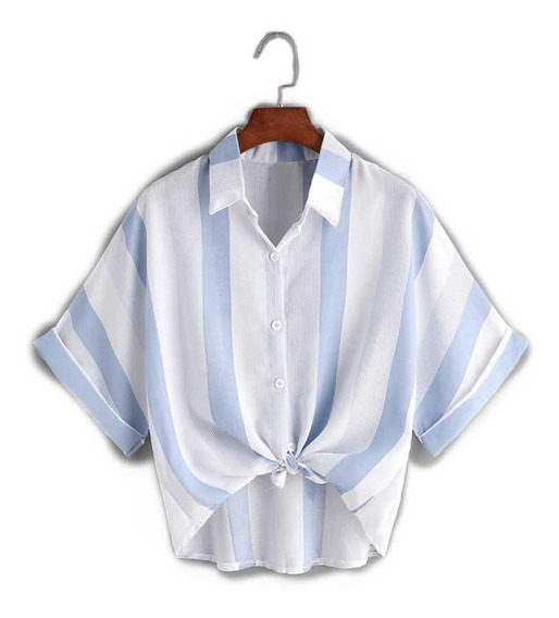 Ropa Dama Moda Camisa De Rayas Blanca Azul Tendencia Casual