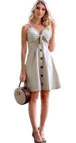 Vestido Curto Feminino Botão Alças Verão Moda Blogueira Bojo
