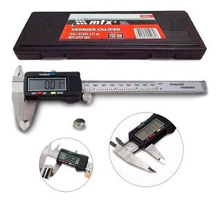 Paquímetro Digital 6 Em Aço Inox 150mm Mtx Estojo E Bateria