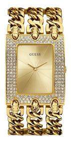Relógio Feminino Guess W0315l2 Dourado Strass Pronta Entrega