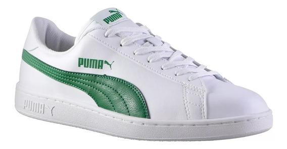 Oferta! Zapatillas Puma Smash V2 Blanco Verde De Moda Hombre
