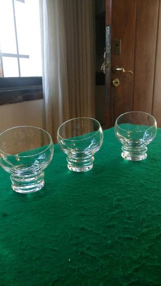3 Copas Cristal Cortadas En Bisel