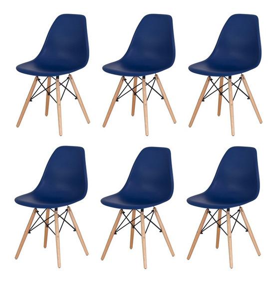 Conjunto Kit 6 Cadeiras Charles Eiffel Eames Wood Design Base Madeira Várias Cores Sala Jantar Cozinha