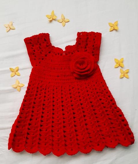 Vestido Rojo Tejido Al Estilo Croché Para Bebe Recién Nacido
