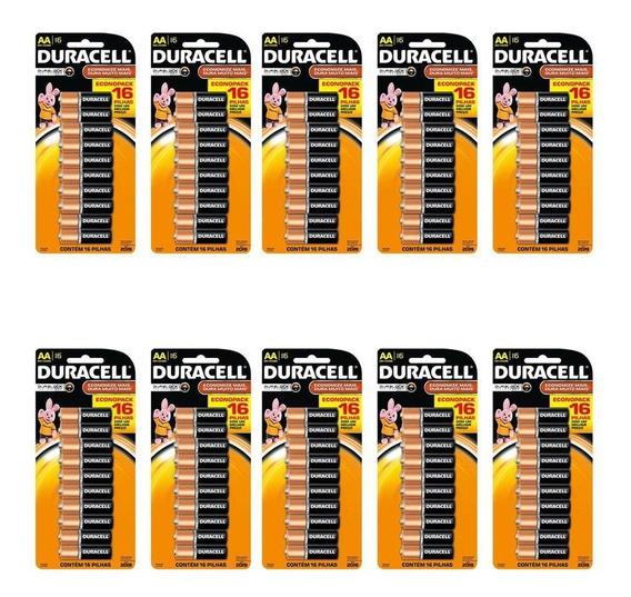 Kit 10 Cartela Pilhas Alcalina Aa Duracell - Total 160 Pilha