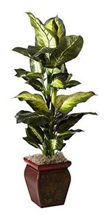 Nearly Natural 6731 Golden Dieffenbachia With Decorative Pl