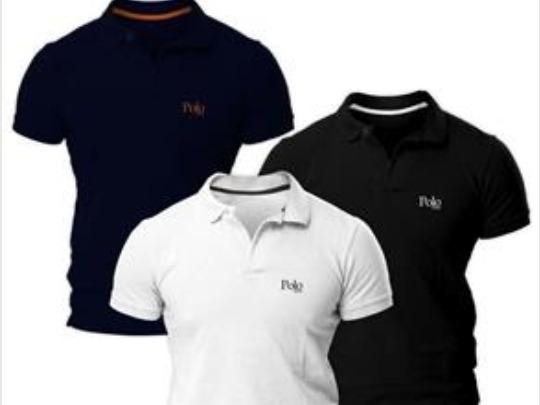 Kit Com Três Camisas Polo Piquet Regular Fit
