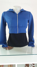 Jaqueta Feminina Azul Cropped Com Zíper E Touca