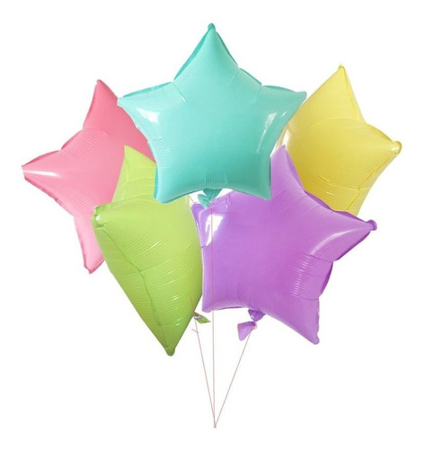 Set 5 Globos Estrella Metalizado Pastel 18´´ Apto Helio