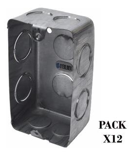 Caja Luz Para Embutir Rectangular De Chapa Iram Paxk X12 Uni