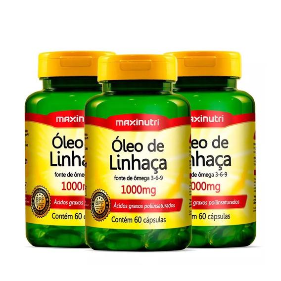 Óleo De Linhaça - 3x 60 Cápsulas - Maxinutri