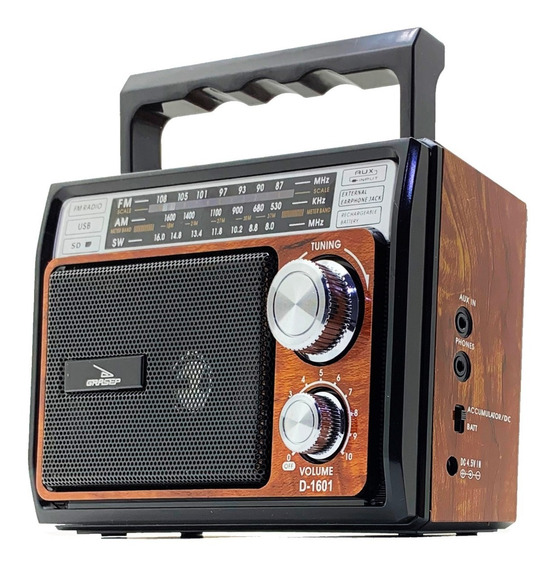 Rádio Retrô Vintage Am Fm Sw Recarregável Mp3 Aux P2 Sd Usb