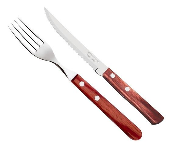 Set 12 Cubiertos Tramontina Polywood Cuchillo Recto Tenedor