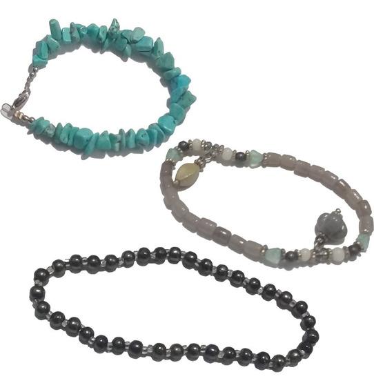 Kit 3 Pulseiras Femininas Pedrinhas Pedras Cores Variadas