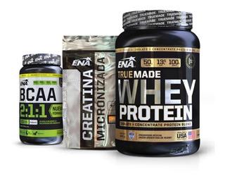 Combo Ena Crecimiento Muscular Proteina + Creatina + Bcaa