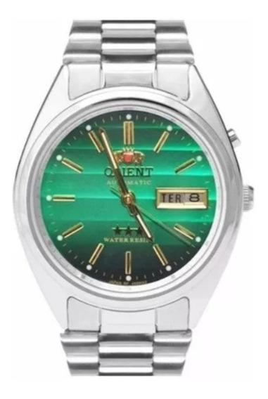 Relógio Masculino Orient Automático Prata Fundo Verde